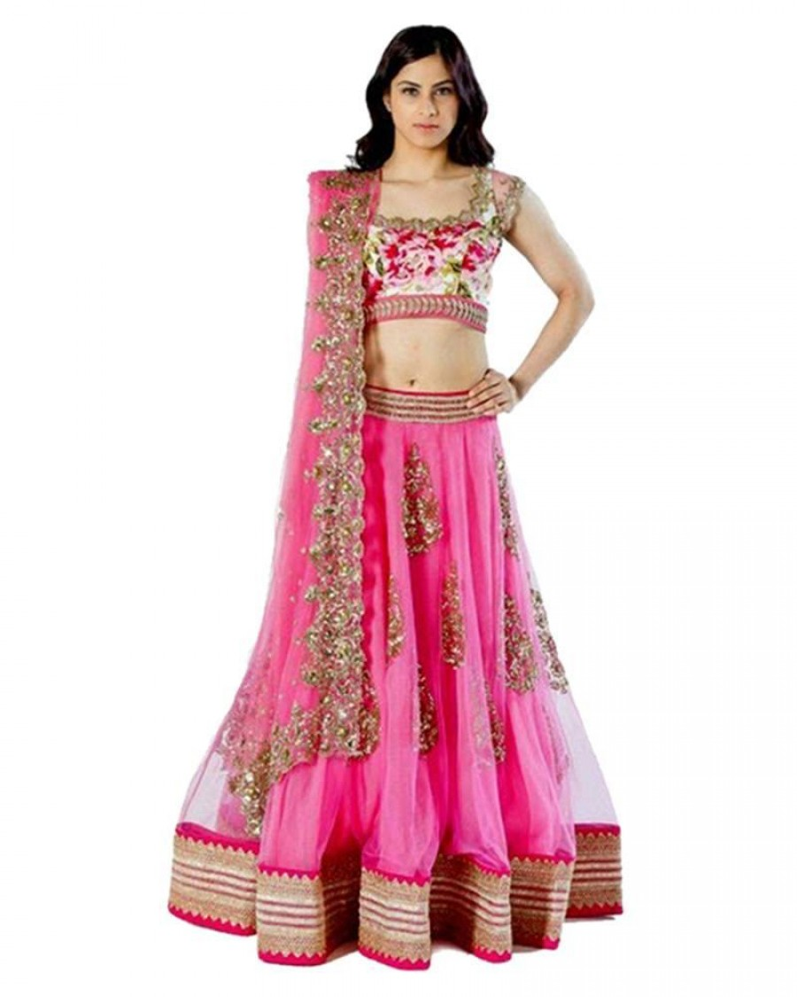 102b34d011 Buy Exclusive Pink Cotton Silk Embroidered Designer Lehenga at best ...