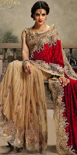 Buy Vibrant Red And Beige Velvet Saree With Blouse. Online