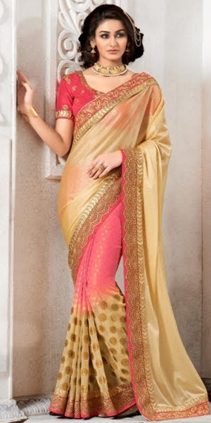 Buy Cute Cream And Pink Jaquard Saree With Blouse. Online