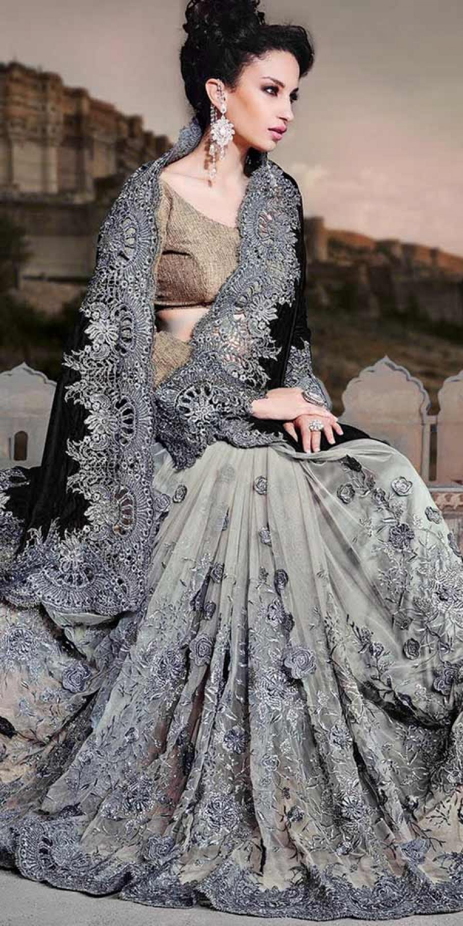 Buy Admire Black And Grey Velvet Saree With Blouse. Online
