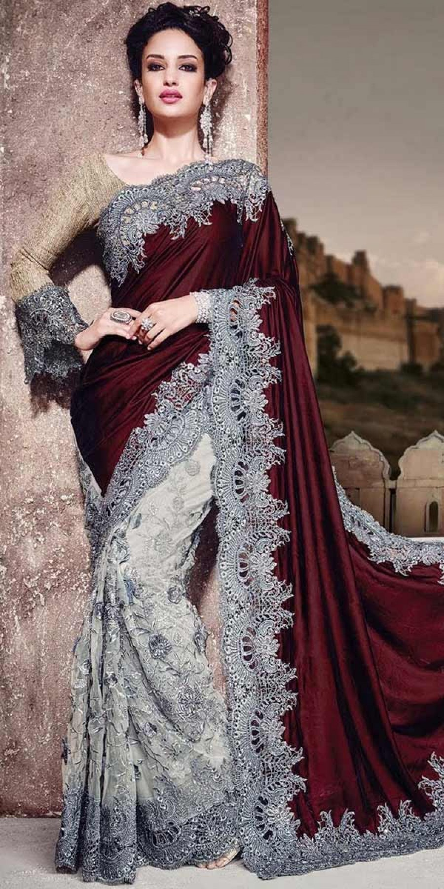 Buy Heartily Maroon And Grey Velvet Saree With Blouse. Online