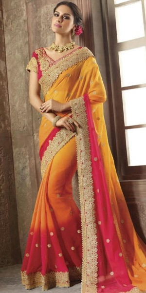 Buy Fancy Yellow And Pink Chiffon Saree With Blouse. Online