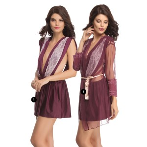 Buy  LACY POLYAMIDE NIGHTDRESS WITH MESH ROBE Online