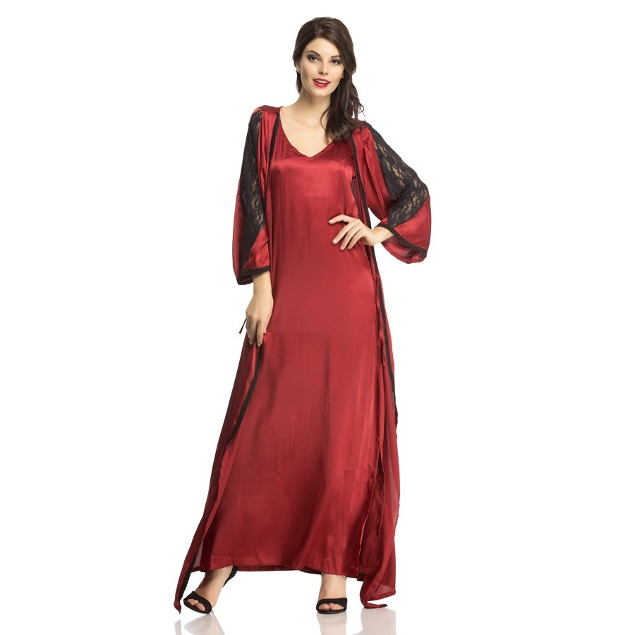 Buy SATIN NIGHTWEAR SET OF LONG NIGHTY   ROBE IN MAROON Online 49be19728