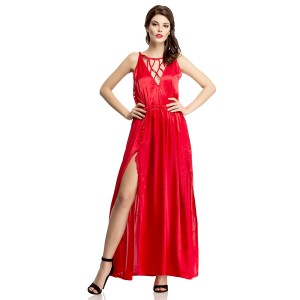 Buy  SEXY SATIN NIGHTGOWN WITH MESH LACE IN RED Online