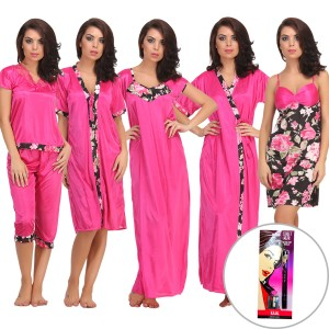 Buy  8 PC NIGHTWEAR SET IN PINK Online