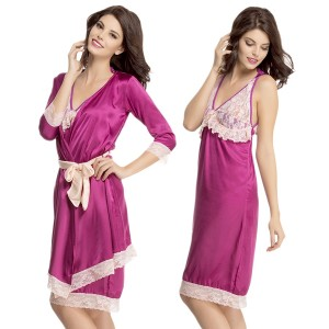 Buy  2 PCS LACE AND SATIN NIGHTY WITH ROBE IN DARK PURPLE Online