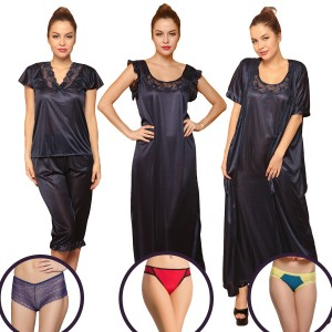 Buy  7 PC NIGHTWEAR SET IN NAVY Online