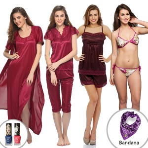 Buy  10 PC NIGHTWEAR SET IN WINE Online