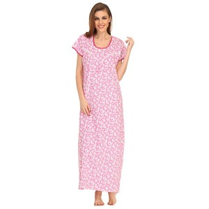Buy  COTTON FULL LENGTH NIGHTDRESS IN PINK Online