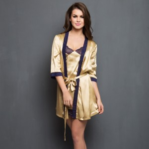 Buy  SET OF 2 GOLDEN SATIN SHORT NIGHTSLIP WITH ROBE Online