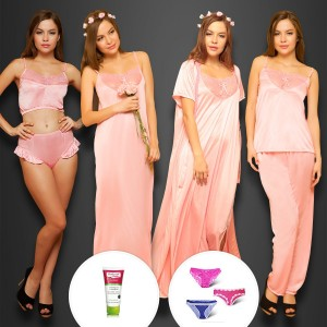 Buy   6 PCS NIGHTWEAR SET IN BABY PINK  FACEWASH WATCH Online