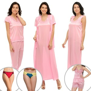 Buy  8 PCS SATIN NIGHTWEAR IN BABY PINK Online