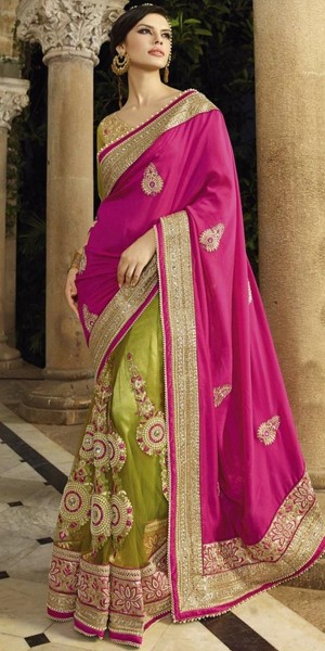 Buy Vibrant Pink And Green Georgette Saree With Blouse. Online