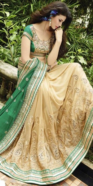 Buy Elegant Green And Cream Georgette Saree With Blouse. Online
