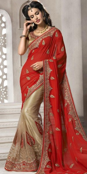 Buy Fabulous Red And Beige Net Saree With Blouse. Online