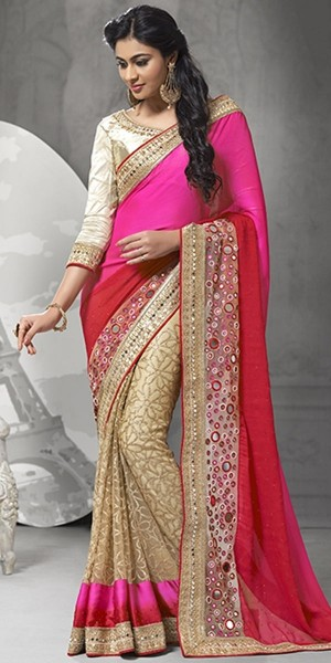Buy Sizzling Pink And Red Net Saree With Blouse. Online
