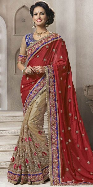 Buy Dazzling Maroon And Off-White Georgette Saree With Blouse. Online