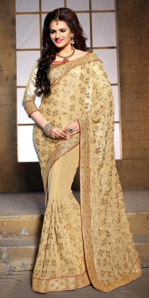 Buy Wonderful Beige Pure Bamber Saree With Blouse. Online