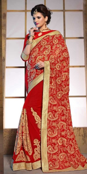 Buy Marvelous Red And Beige Pure Bamber Saree With Blouse. Online