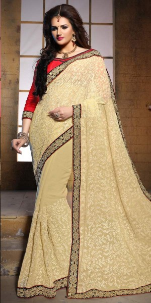 Buy Charming Cream Pure Bamber Saree With Blouse. Online