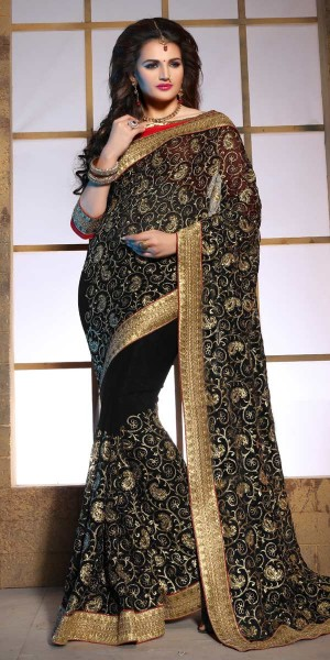 Buy Dazzling Black And Beige Pure Bamber Saree With Blouse. Online
