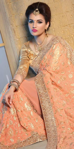 Buy Attractive Orange And Beige Pure Bamber Saree With Blouse. Online