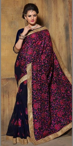 Buy Bright Navy Blue Pure Bamber Saree With Blouse. Online