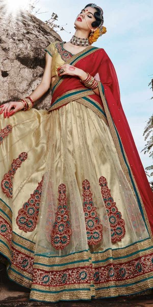 Buy Heartily Cream And Red Net Designer Lehenga With Dupatta. Online