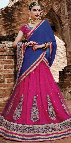 Buy Dynamic Pink And Navy Blue Net Designer Lehenga With Dupatta. Online