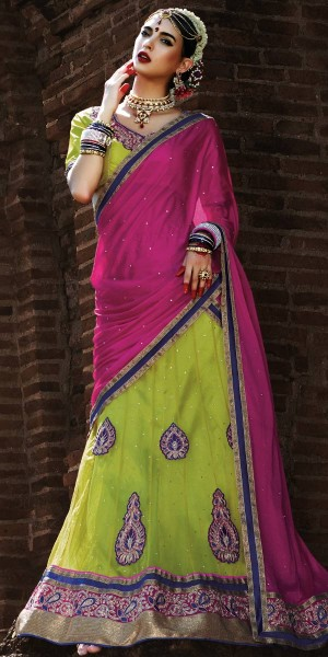 Buy Excellent Green And Pink Net Designer Lehenga With Dupatta. Online