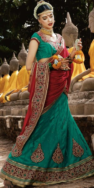 Buy Sizzling Green And Red Net Designer Lehenga With Dupatta. Online