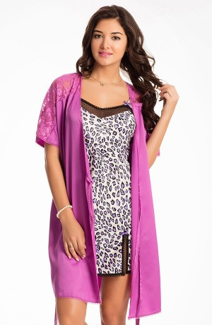 Buy  Prettysecrets Roaring Purple Midnight Spell Chemise & Wrap Set Online