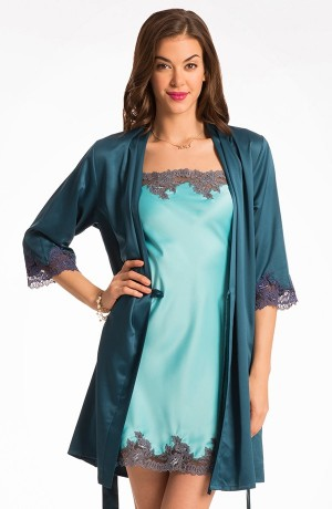 Buy  Prettysecrets Aqua Spoilt In Satin Chemise & Teal Wrap Set Online