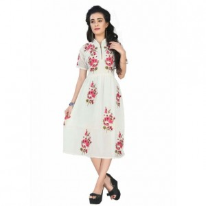 Buy Designer Cool Look White Colour Embroiderd Kurti Online