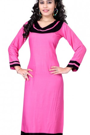 Buy Amazing Plain Formal Wear Beautiful Cottan Pink Kurti Online