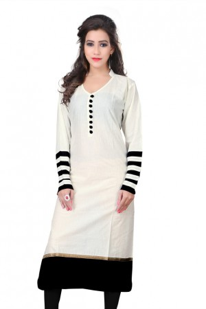 Buy Amazing Plain Formal Wear Beautiful Cottan White Kurti Online