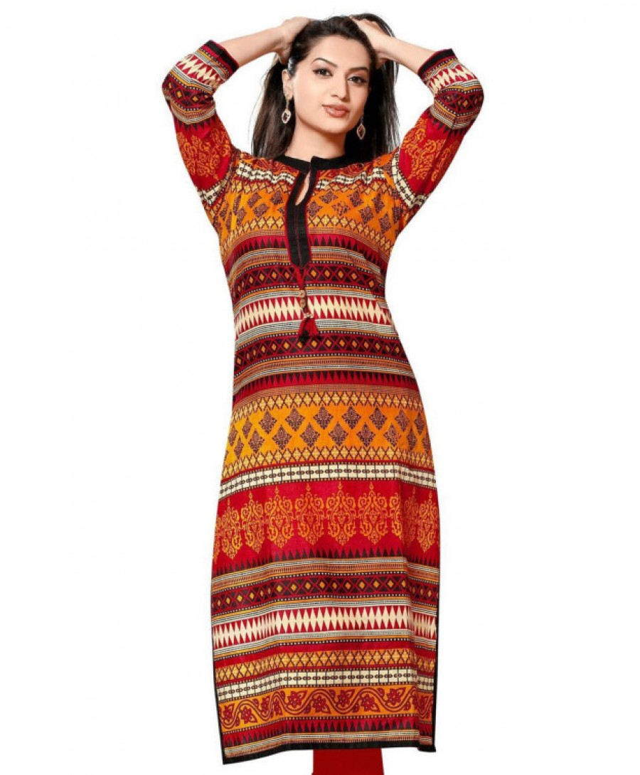 Buy Printed Long Multi Colors Kurti Online