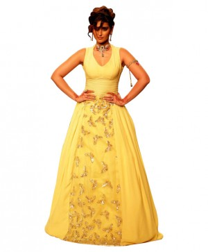Buy Awesome Yellow Georgette Stitched Bollywood Gown Online