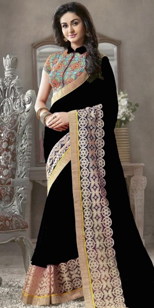 Buy Bright Black And Blue Georgette Saree. Online