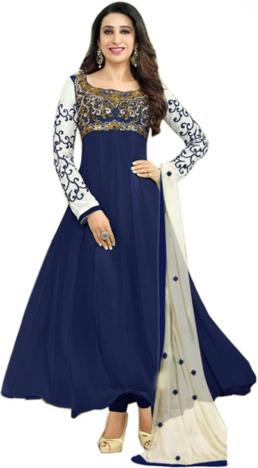 b3c8c8fbf0ee Buy Styleworld Georgette Embroidered Semi stitched Salwar Suit Dupatta  Material Online