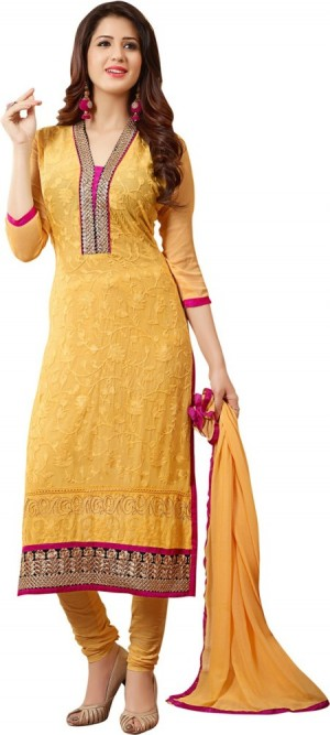 Buy Saara Cotton Embroidered Semi stitched Salwar Suit Dupatta Material Online