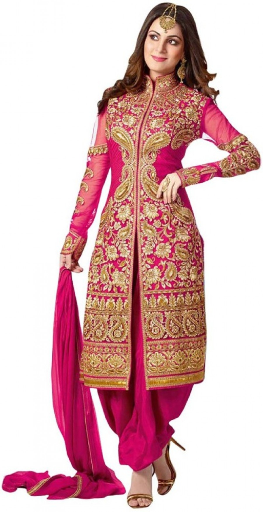 386ed0ecfc Buy MF Retail Georgette Embroidered Semi stitched Salwar Suit Dupatta  Material Online