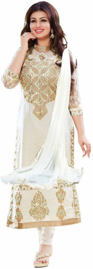 Buy Khantil Cotton Embroidered Semi stitched Salwar Suit Dupatta Material Online