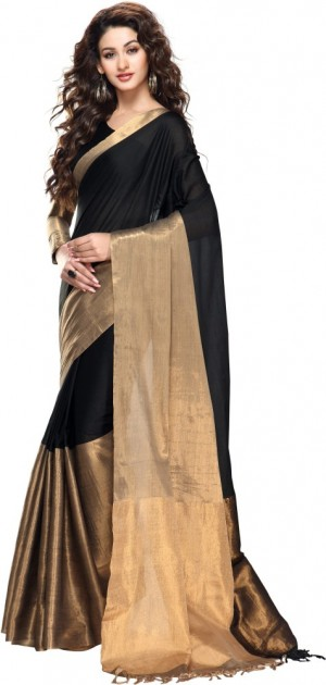 Buy Kjs Plain Bollywood Cotton Sari Online