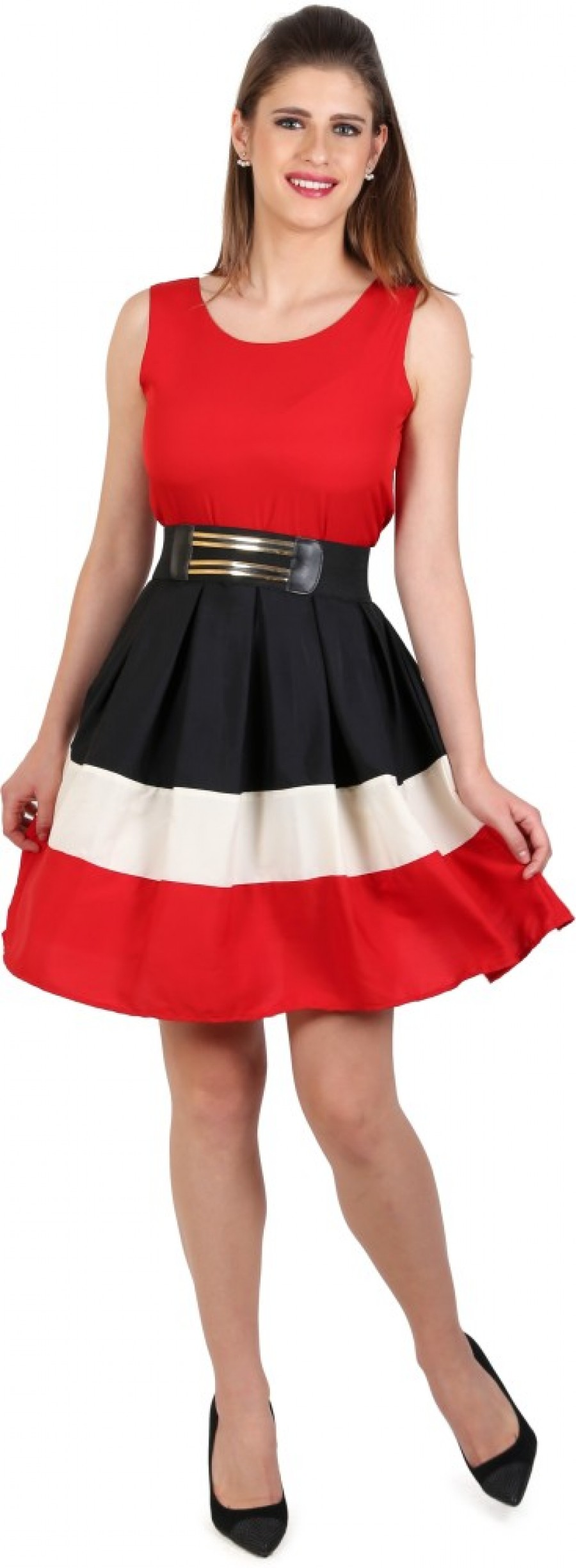 Buy  Eyelet Womens A line Red Dress Online