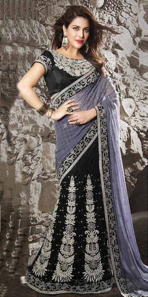 Buy Classy Black And Grey Chiffon Saree With Blouse. Online