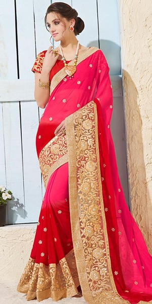 Buy Sparkling Pink Satin Saree With Blouse. Online