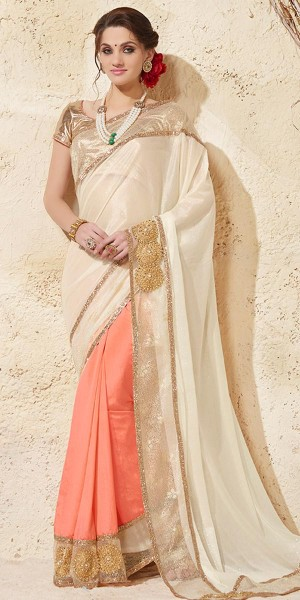 Buy Mind Blowing Cream And Peach Silk Saree With Blouse. Online