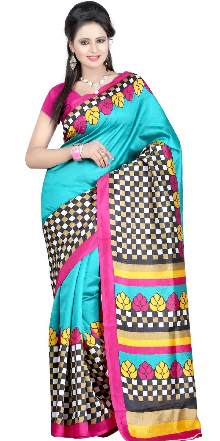 Buy Lovely Blue And Pink Silk Printed Saree With Blouse. Online
